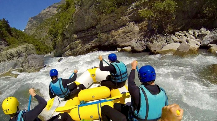 rafting filmé en gopro sur ubaye et sa vallée