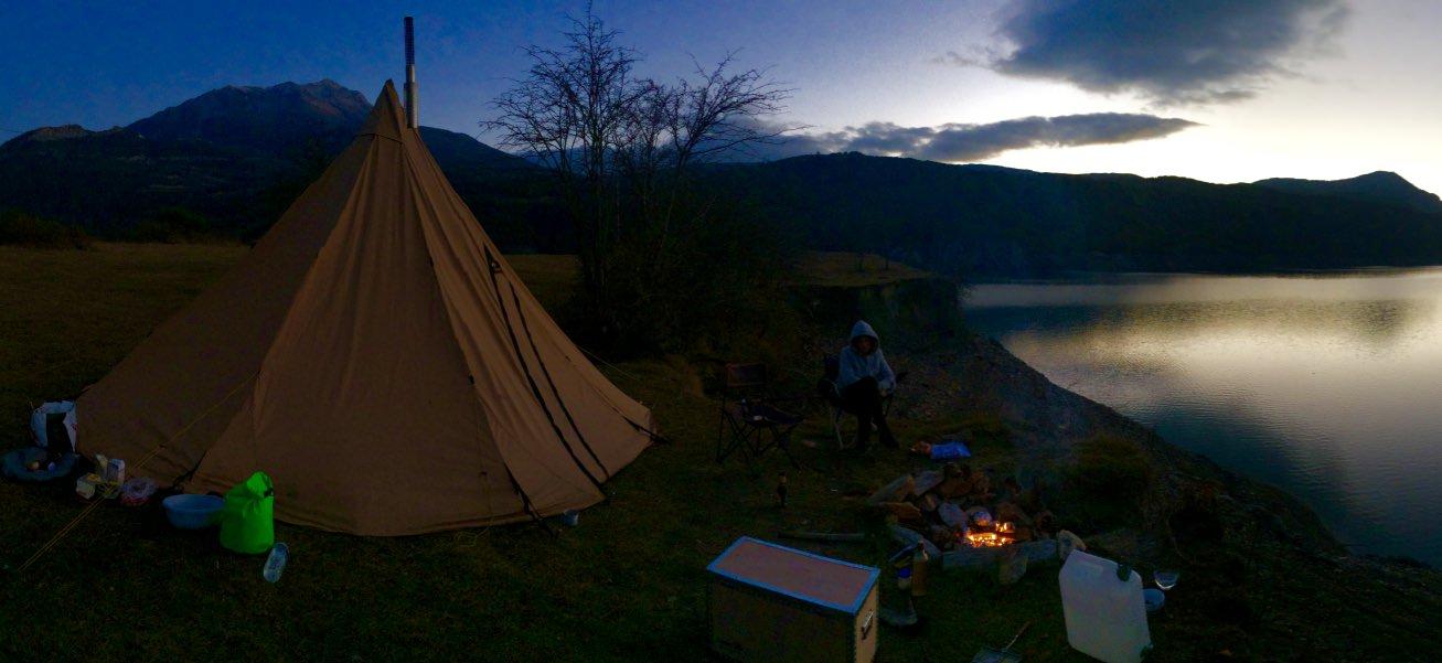 Premières nuits avec le Tipi & poêle à bois  RaftUbaye